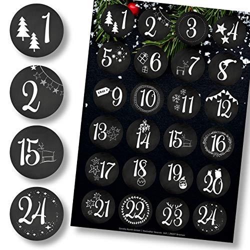 Adventskalender Aufkleber (Zahlen 1-24) - Sticker für Kalender zum selber basteln für Weihnachten...