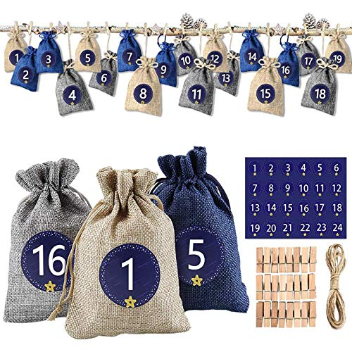 solawill 24 Adventskalender zum Befüllen, Weihnachten Geschenksäckchen mit 1-24 Adventszahlen...