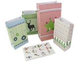 24 Adventstütchen zum Befüllen, 12 große + 12 kleine Weihnachtstüten incl. Zahlenetiketten, Größe 10x19 cm und 8 x 13 cm - 1