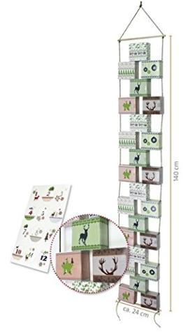 Adventskette zum Befüllen, 24 Boxen mit Kordel, Zahlenetiketten und Bastelanleitung Boxen (9x8x4 cm) Gesamtlänge ca. 1,40 m - 1